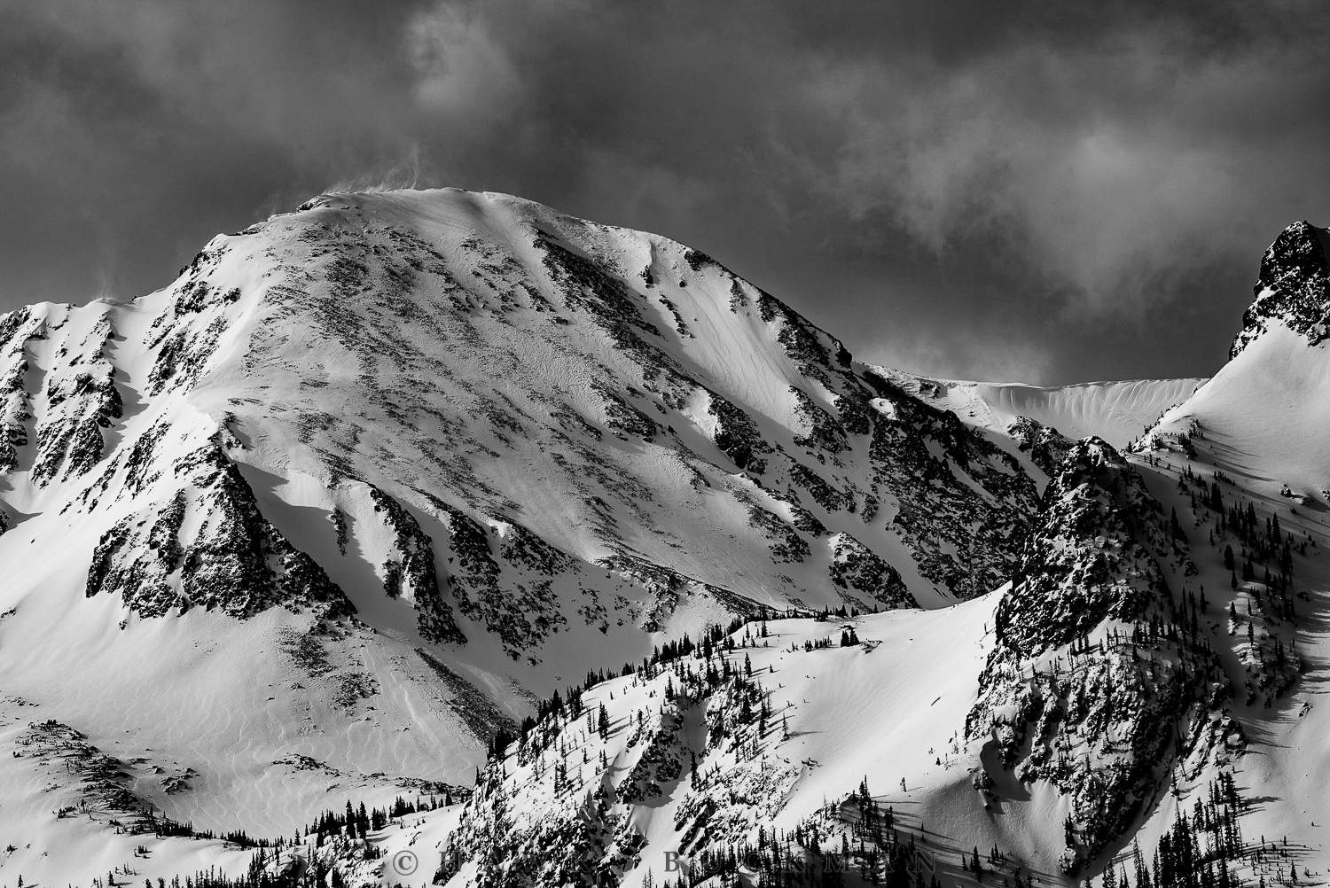 "Static Peak & Mount Richthofen (Black & White) - 36""X24"""