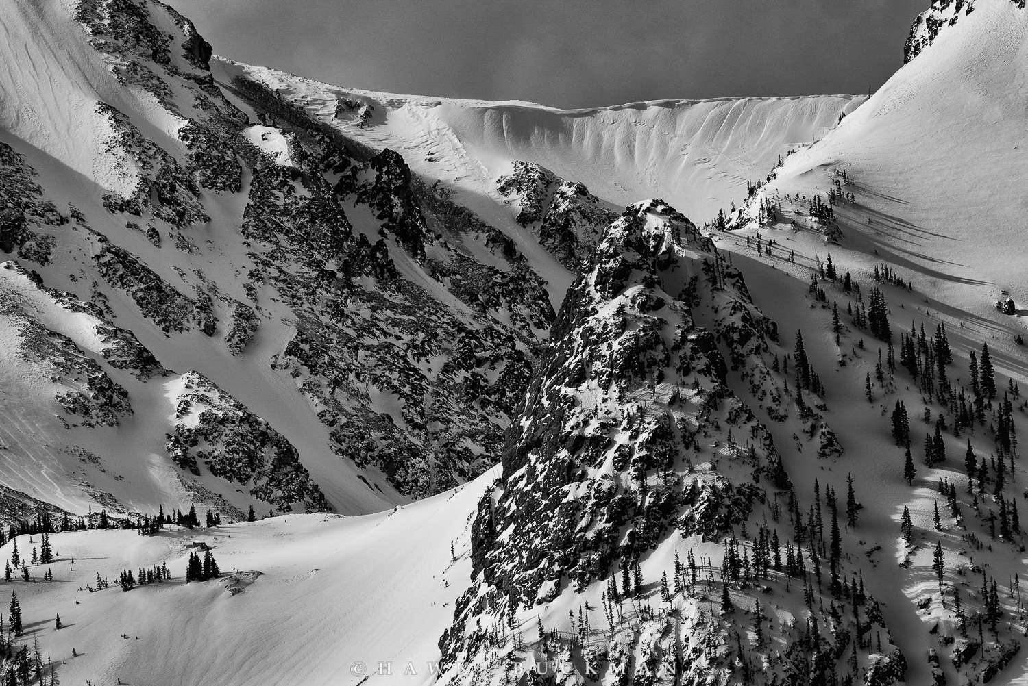 Lower North side of Static Peak - Black and White