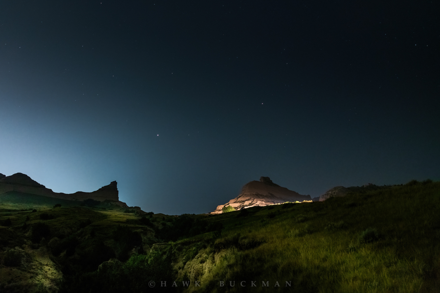Eagle and Independence Rock Night Sky - Scotts Bluff National Monument